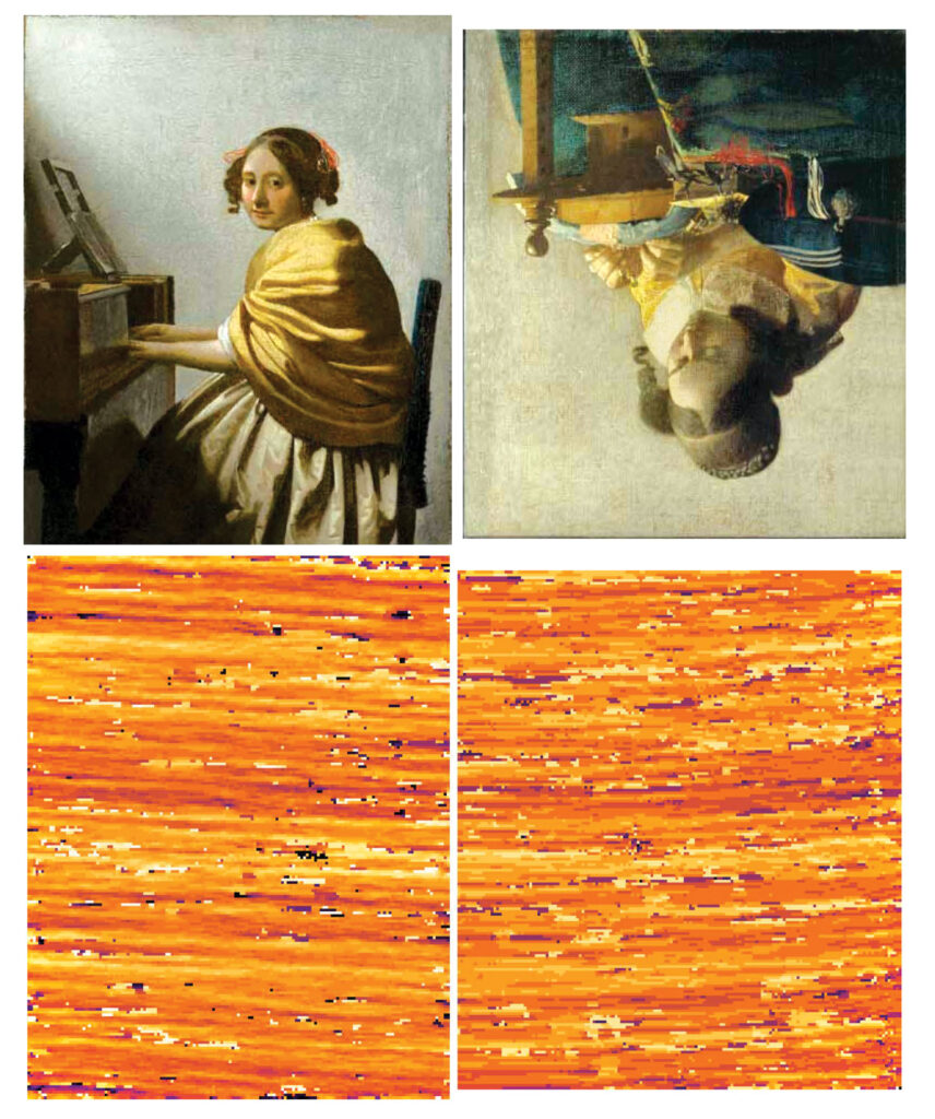 """Images of two paintings by Vermeer, """"Young Woman Seated at a Virginal"""" and """"The Lacemaker,"""" are seen with their matching weave maps."""