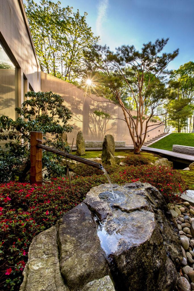 The Japanese Garden outside the Johnson Museum of Art.
