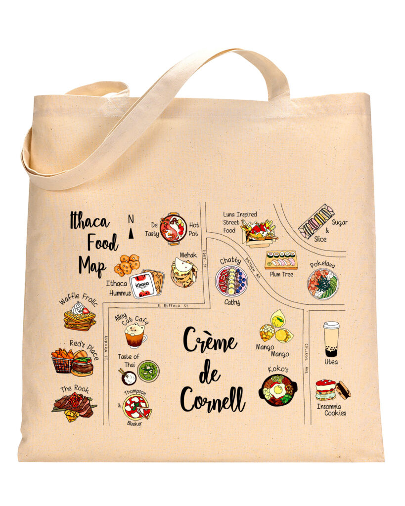 A tote bag with food-related images.