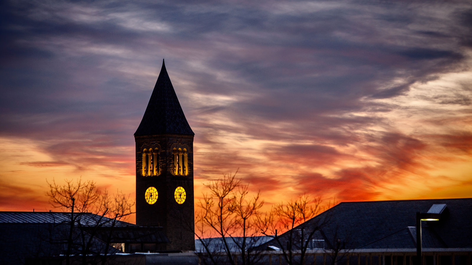 McGraw tower reflection at sunset