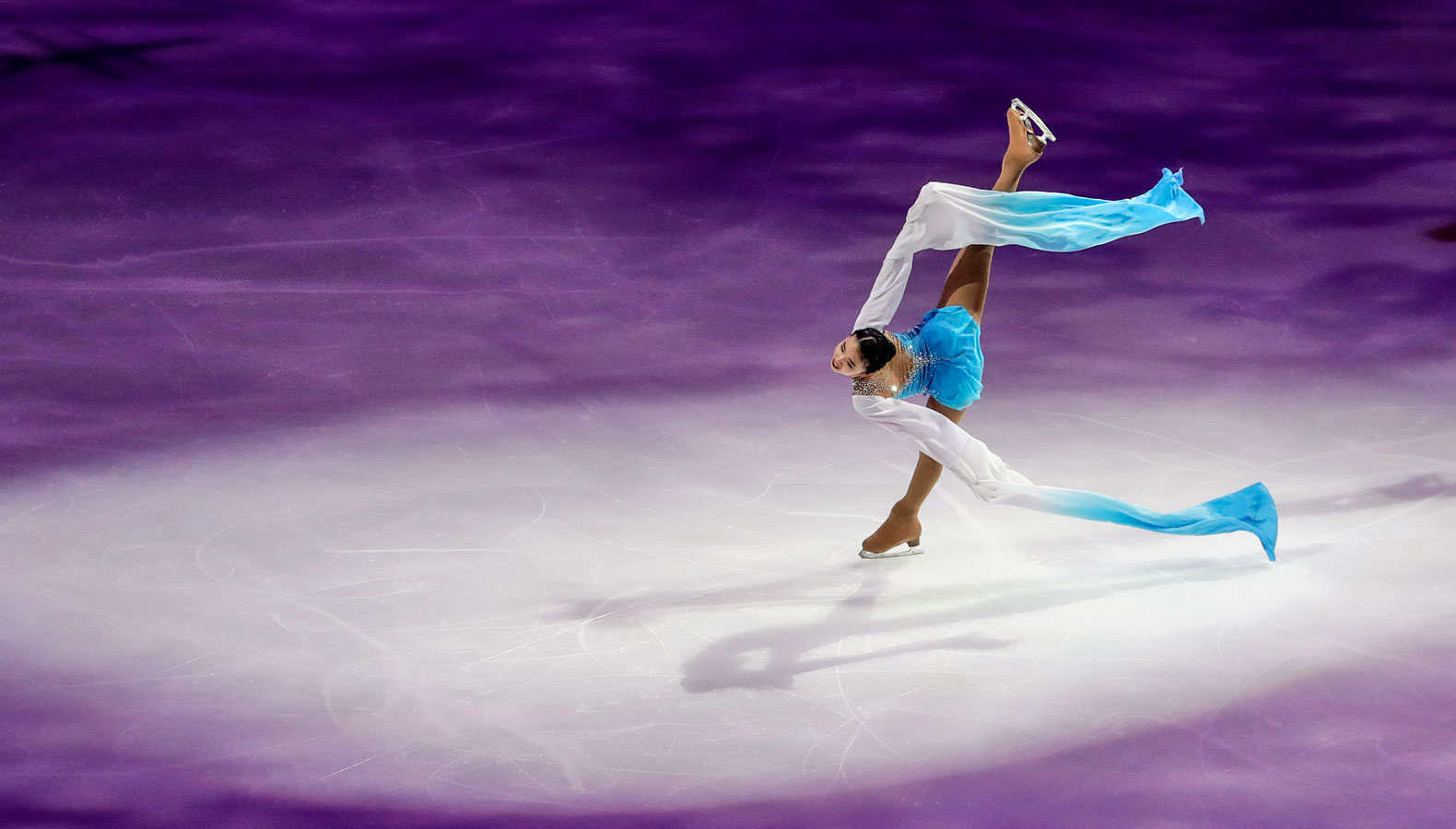 Karen Chen performs during an exhibition event at the U.S. Figure Skating Championships.