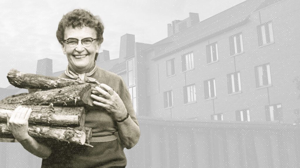 Photo illustration of professor Alice Cook in front of Alice Cook House