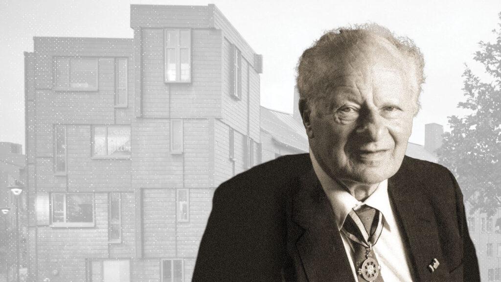 Photo illustration of professor Hans Bethe in front of Hans Bethe House