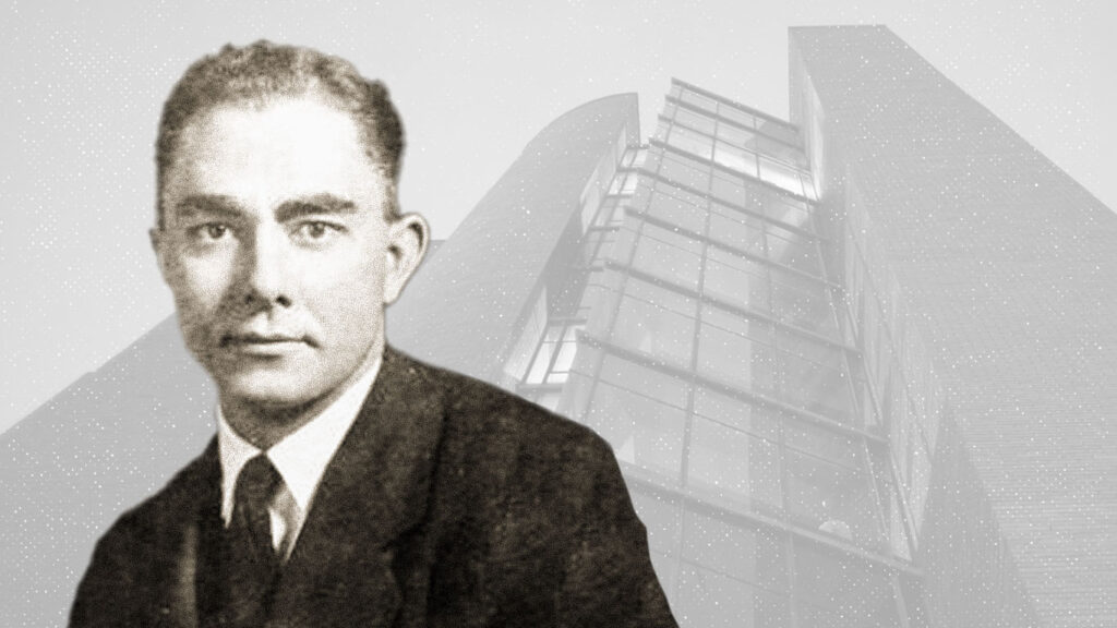 Photo illustration of professor Richard Bradfield in front of Bradfield Hall