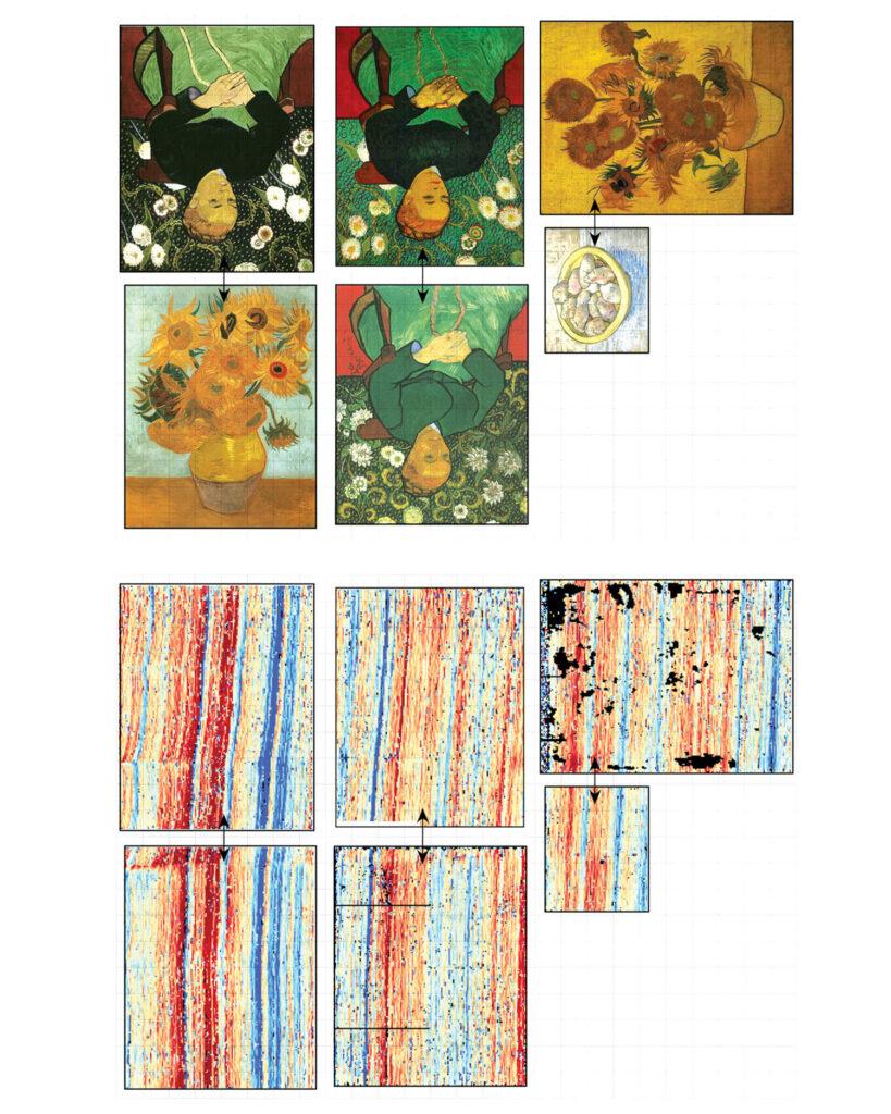 Six Van Gogh paintings and their corresponding weave maps.