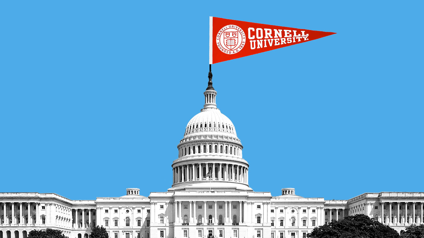 photo illustration showing Capitol Building with a Cornell flag at the top