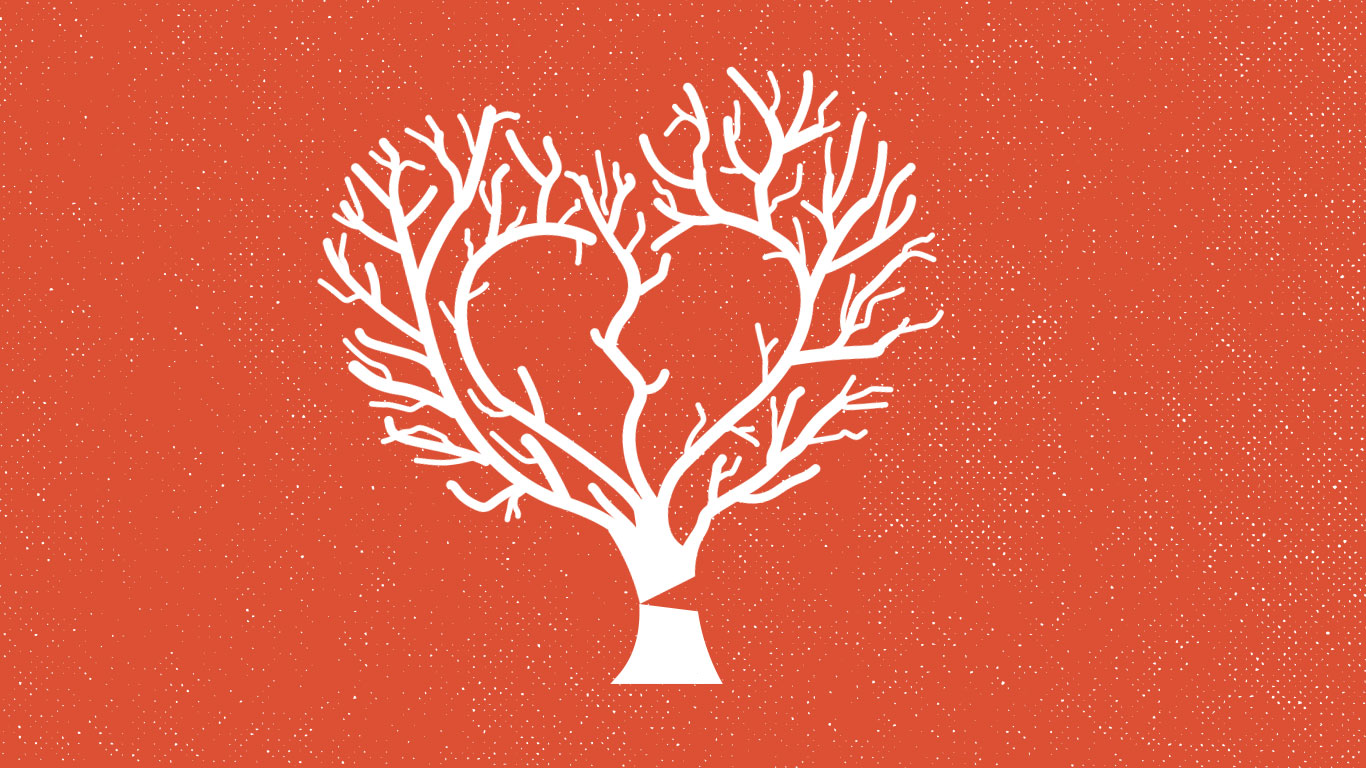 An illustration of a tree with a heart in the middle, which is ruptured.
