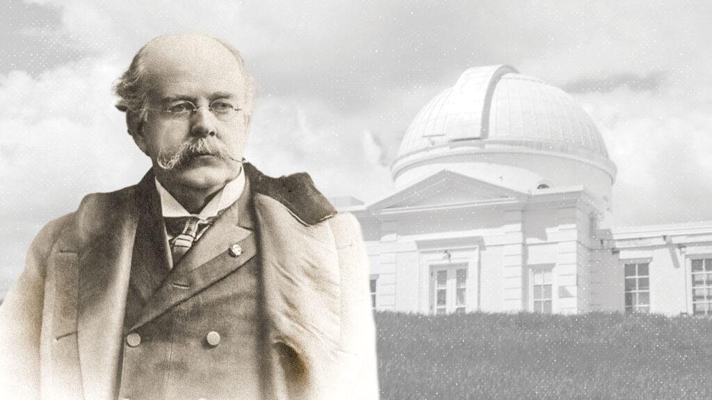 Photo of Estevan Fuertes in front of Fuertes Observatory