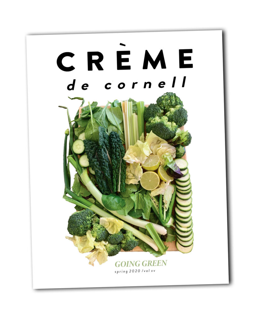 The cover of the spring 2020 issue of Crème de Cornell features a variety of vegetables.