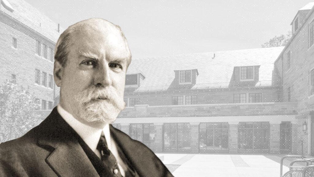 Photo illustration of professor Charles Hughes and Hughes Hall