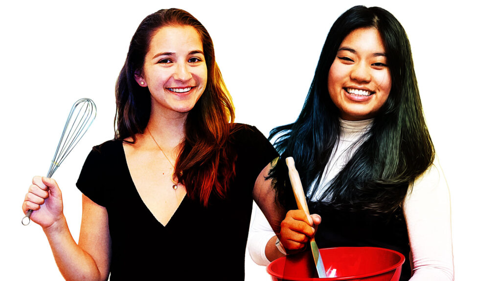 Abigail Reing (left, holding a whisk) and Alex Castroverde (holding a red bowl and spoon)