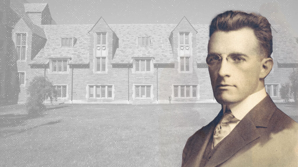Photo illustration of William Mennen, Class of 1908, and Mennen Hall