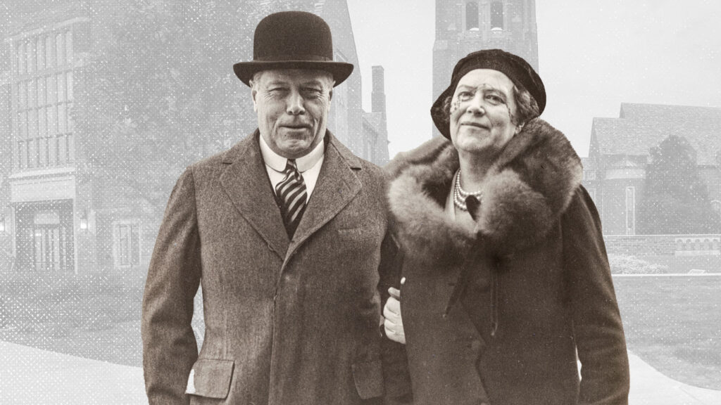 Photo illustration of Myron Taylor, LLB 1894, and Anabel Mack Taylor in front of their adjacent namesake buildings