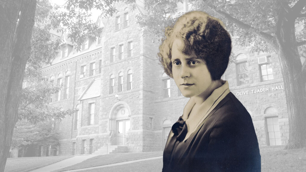 Photo illustration of Olive Tjaden, Class of 1925, in front of Olive Tjaden Hall