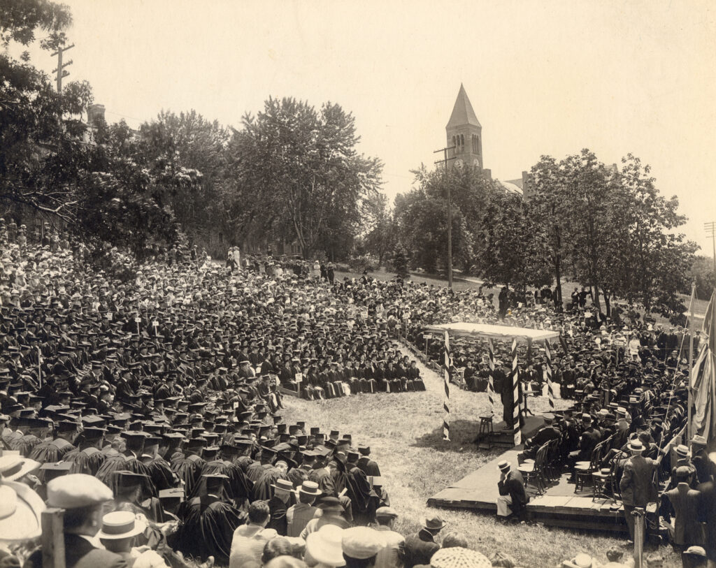 Cornell University's 1912 Commencement ceremonies were held outdoors on Libe Slope