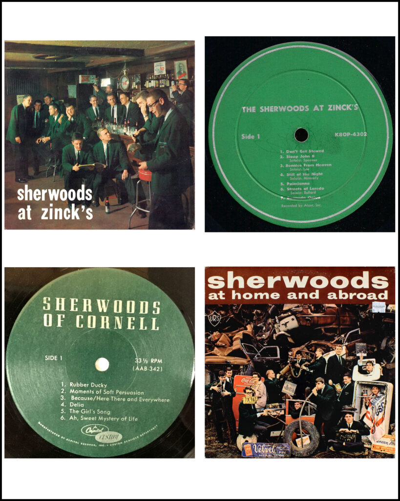 Composite image showing two Sherwood album covers and two LP record labels