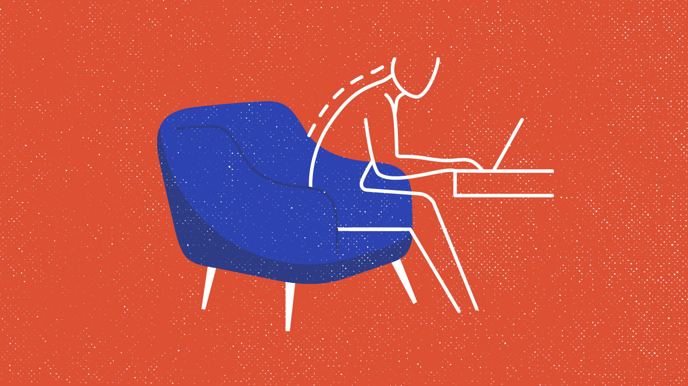 An illustration of a person sitting in a chair using a laptop computer.