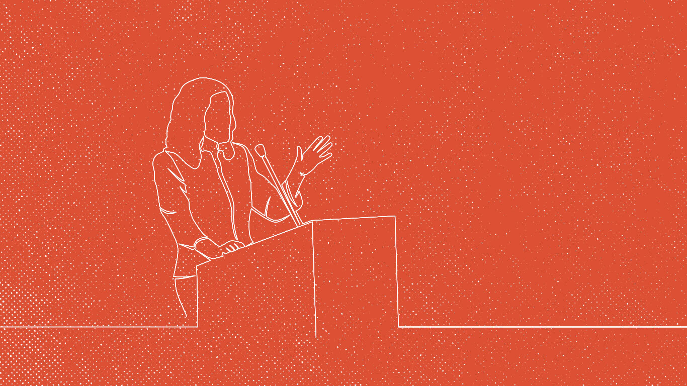 A line illustration on a red background of a speaker at a podium.