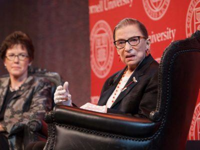 """From Brooklyn to the Bench: A Conversation,"" part of the 2014 Ezra Cornell Circle Reception, with Arts and Sciences (CAS) Dean Gretchen Ritter and the Honorable Ruth Bader Ginsburg '54, Associate Justice of the Supreme Court."