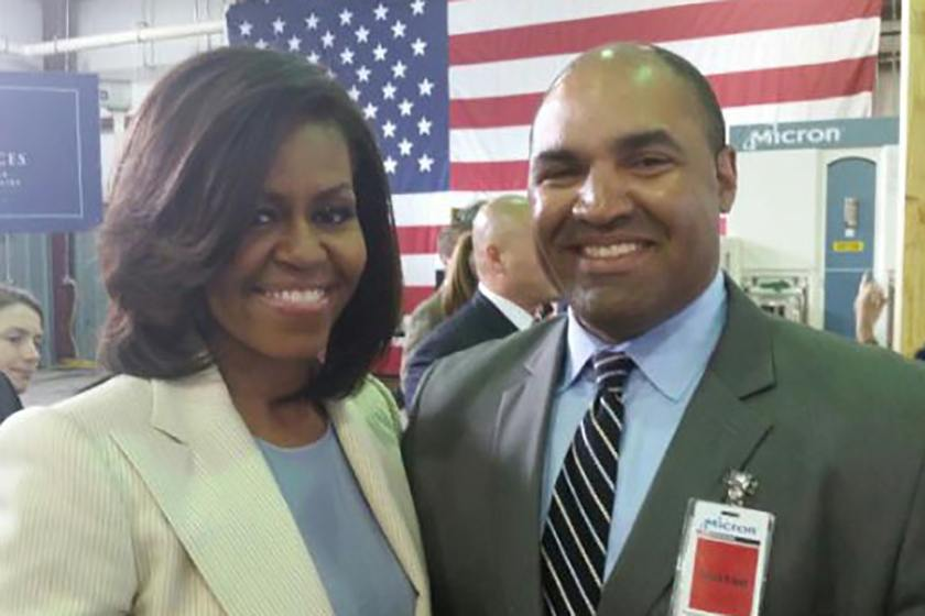 Kevin Johnson with Michelle Obama