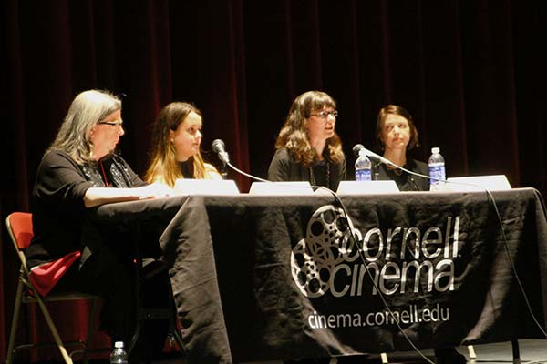 """Cornell Women in Film"" panelists (l-r) Deborah Hoard '78, Kimberly L. Scarsella '16, Kathryn Schubert MA '05, and Mary Fessenden, director of Cornell Cinema."