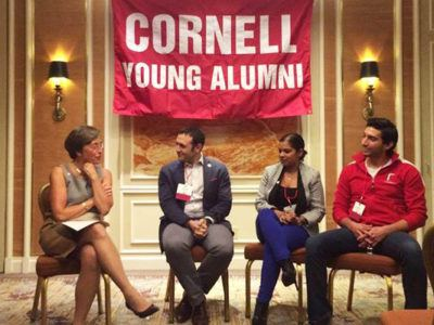 Young alumni engage in a conversation with Susan Murphy. Left to right - Shane Dunn, Kat Balram, and Ruben Ortega.