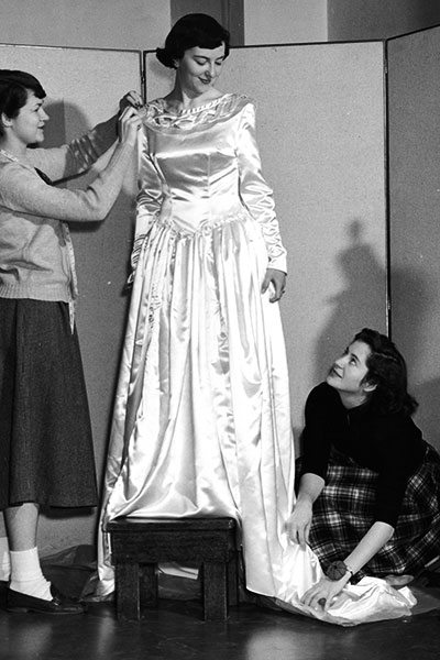 Nancy Sprott Stone, Ellen Forbes Andrews, and Ollie McNamara in a dress design class