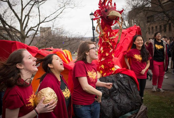 Engineering students and their phoenix on Dragon Day