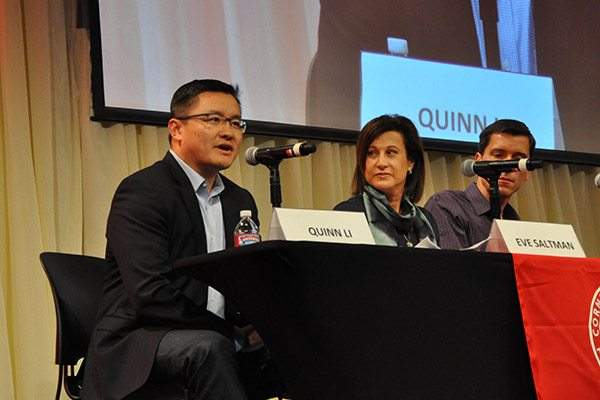 Quinn Li, MBA '03, vice president and managing director of North America at Qualcomm and Eve Saltman '86, deputy general counsel at Go Pro, speak on a panel at CSV16.