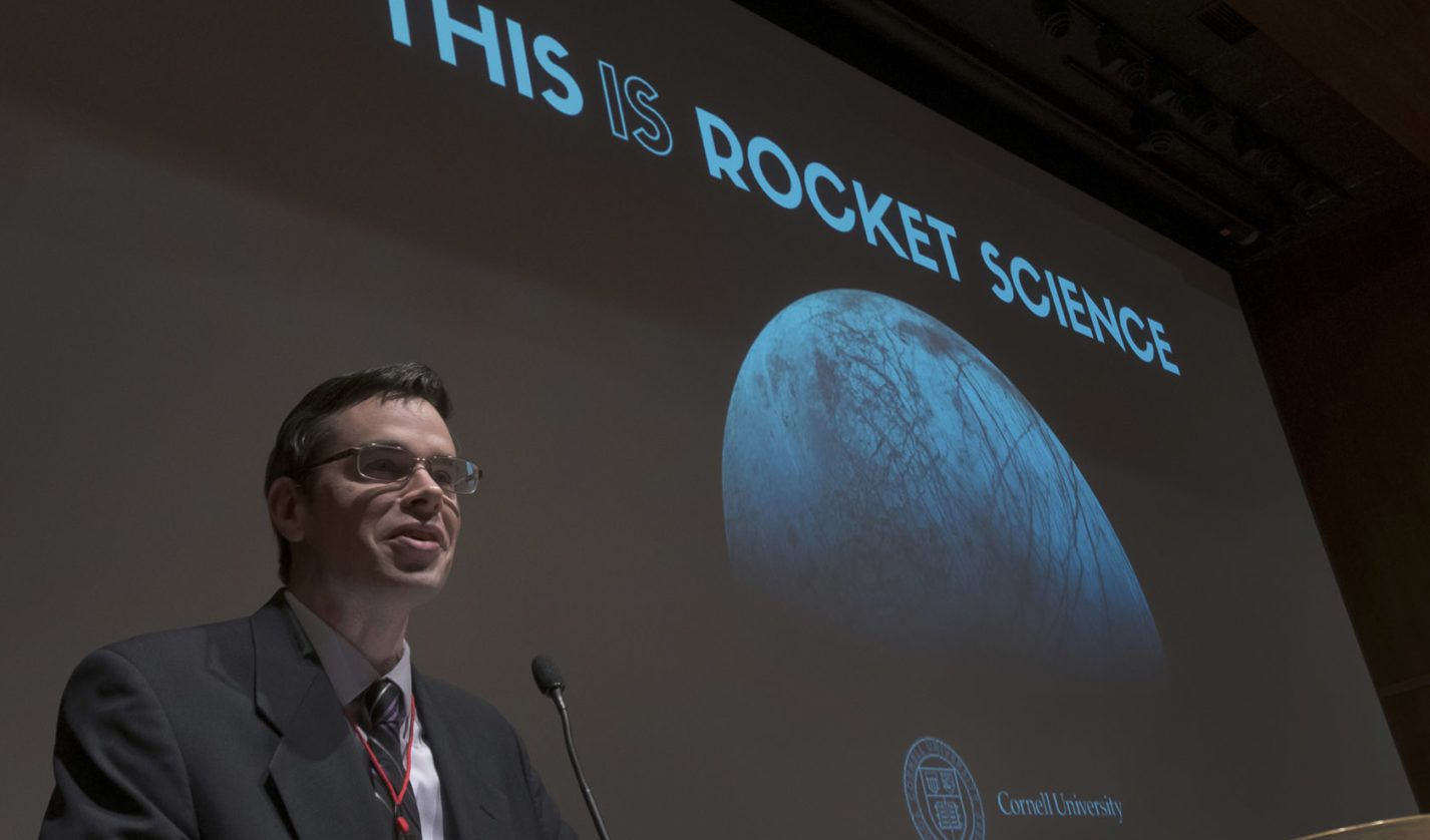 Moderator Christopher Crockett speaks to the audience at This is Rocket Science.