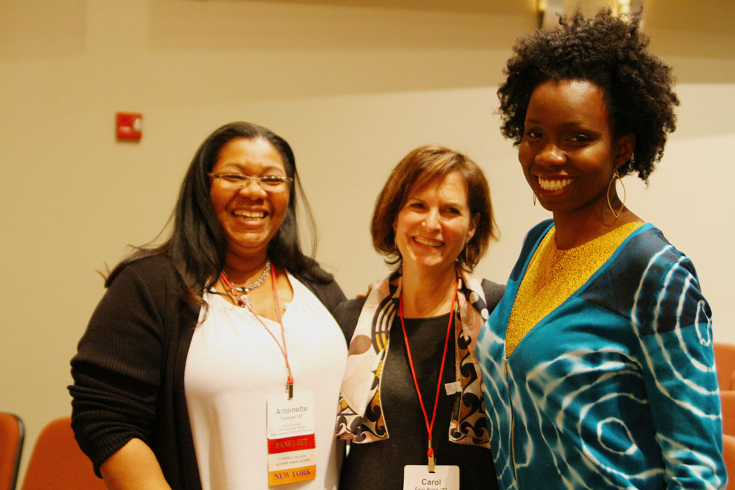 """Issues in the Arts"" speakers (l-r) Antoinette M. Trotman '87, Carol Fein Ross '72, and Adepero Oduye '99."
