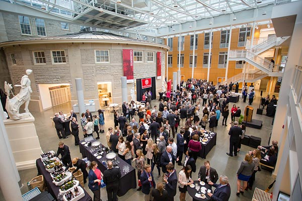 Cornell Family Fellows Program opening reception in the new Groos Family Atrium in Klarman Hall.