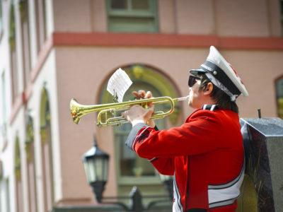 Cornell's Big Red Band (BRB) performs on Ithaca Commons.