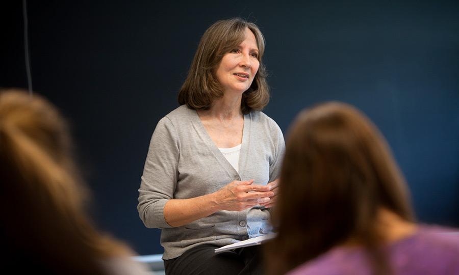 Pamela Tolbert, professor of organizational behavior, teaching a class.