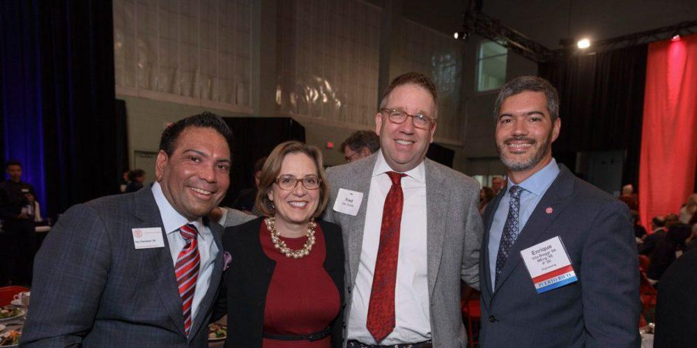 2016 Trustee Council Annual Meeting (TCAM) Weekend: Dinner and Reception. L-R: Raj Chandnani '95, ?, Fred Van Sickle (VP-AAD), Enrique Vita-Biaggi.