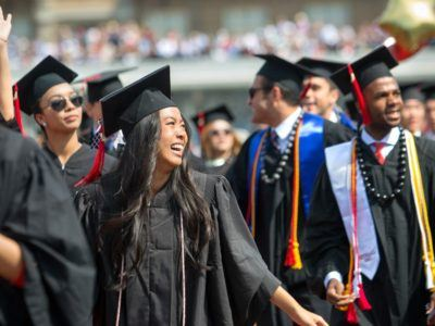 2015 Commencement Weekend: Students enter Schoellkpf Stadium for the Commencement Ceremony.