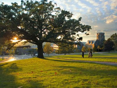 The sun sets over west campus. Shot from Libe Slope. This image was used in the 2009 Cornell Calendar.