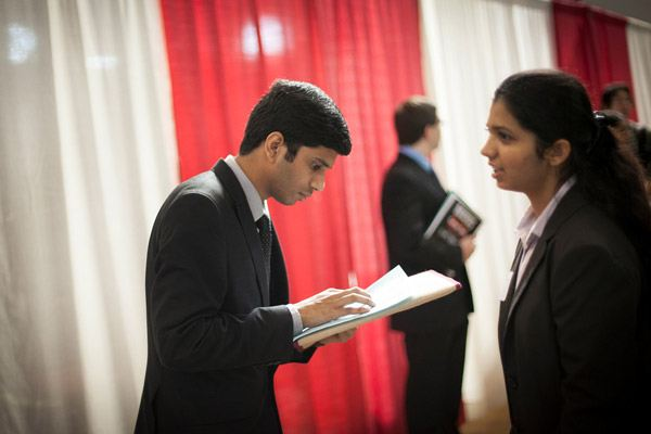Students prepare for on-campus interviews.