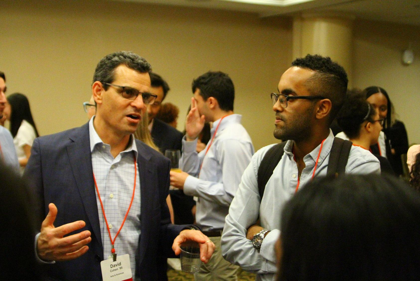 David Cohen, Cornell trustee, networking with students