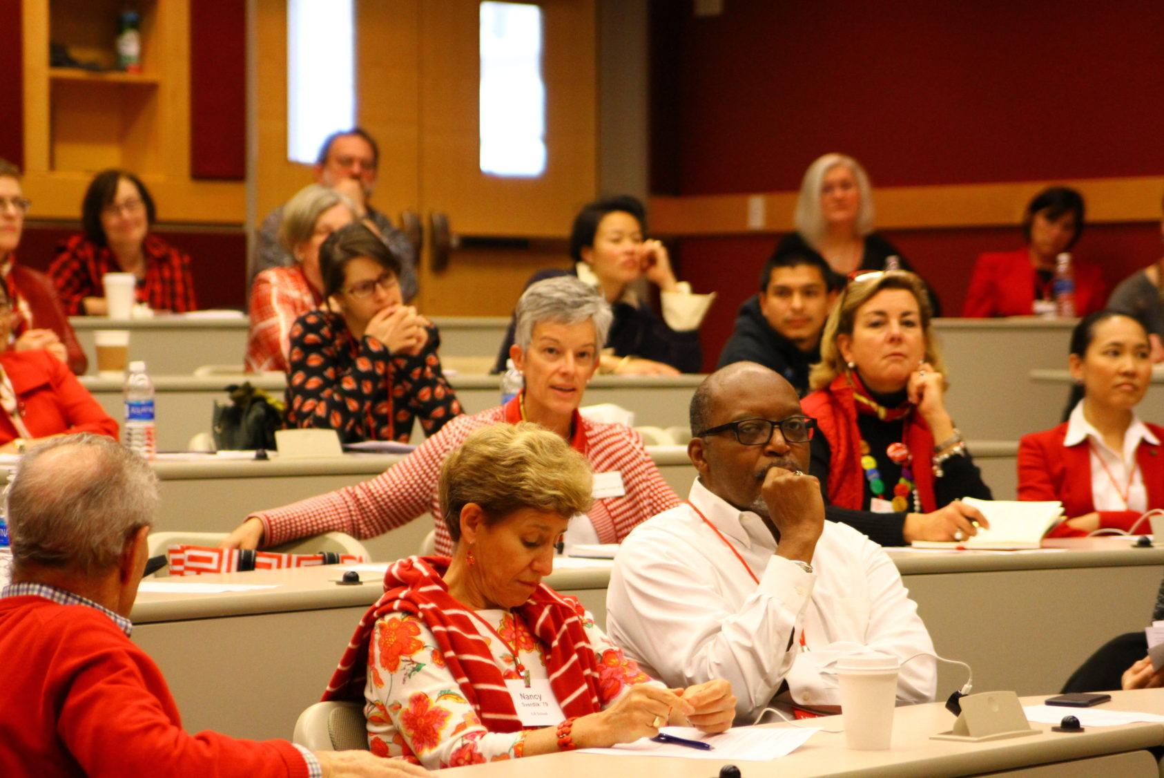 A packed lecture hall at TCAM's first-generation college students panel