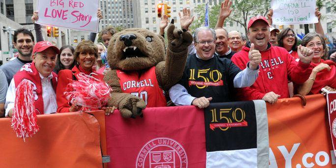 Jim Mazza celebrates Cornell's 150th in New York City.