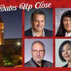 The four candidates for alumni-elected trustee in 2018: John Boochever '81, Yonn Rasmussen '83, MS '86, PhD '89, Lisa Yang '74, Mark Hansen '79