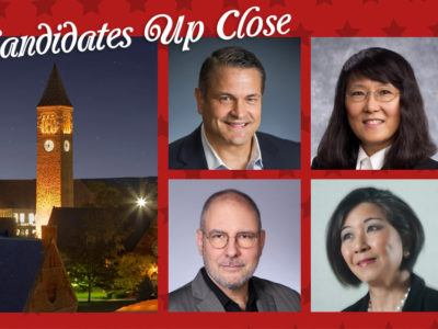 The four candidates for alumni-elected trustee in 2018: John Boochever '81, Yonn Rasmussen '83, MS '86, PhD '89, Lisa Yang '74, Mark Hansen '79