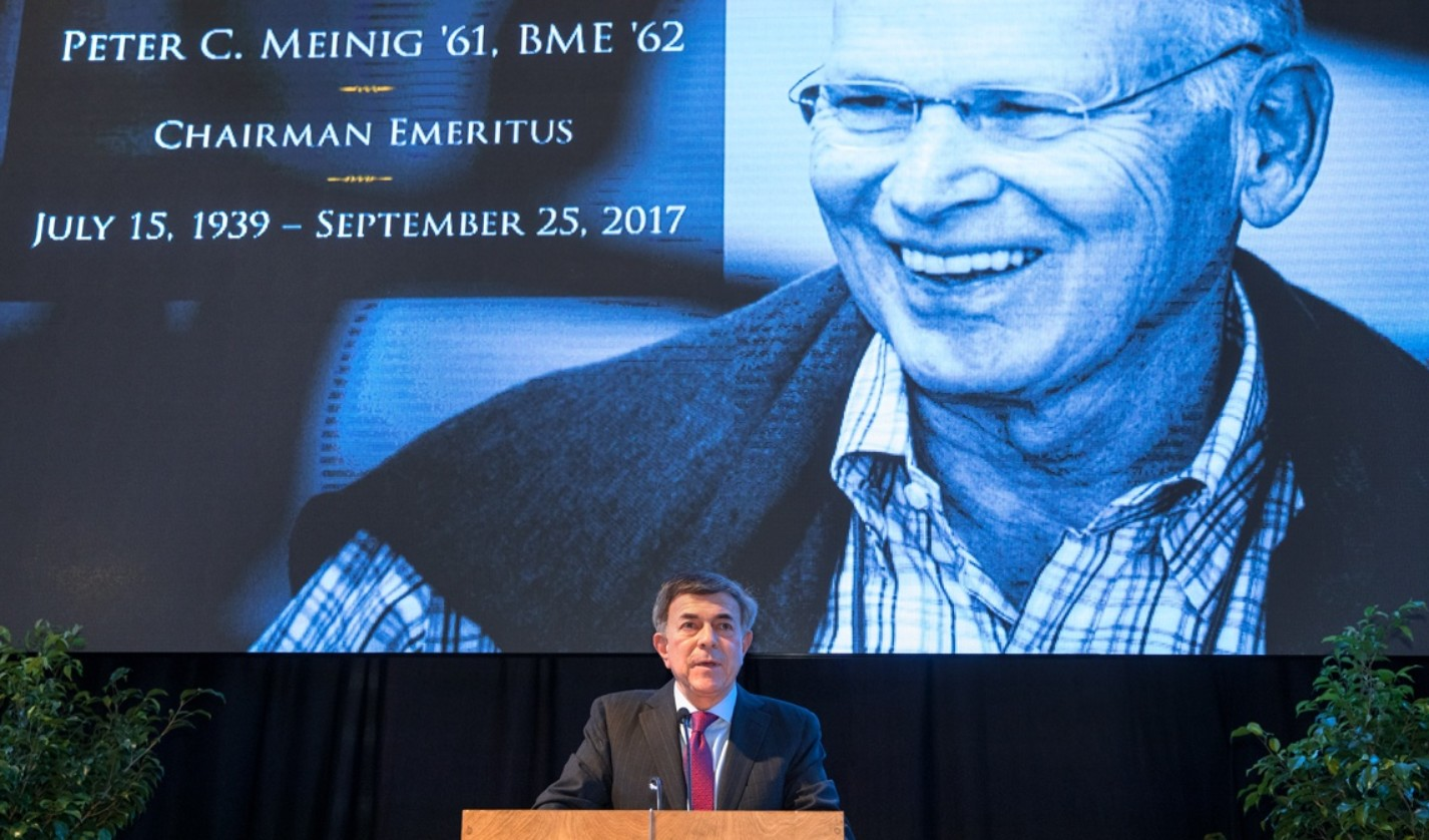 Robert S. Harrison '76, chairman of the Cornell University Board of Trustees, lauds the late Peter Meinig at a March 22 memorial service.
