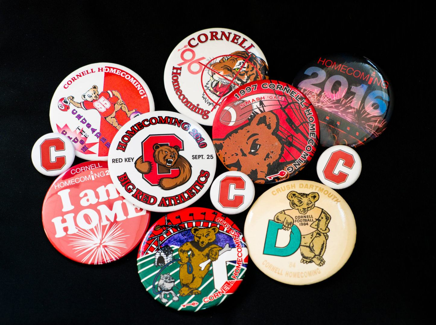 Past buttons from Cornell Homecoming