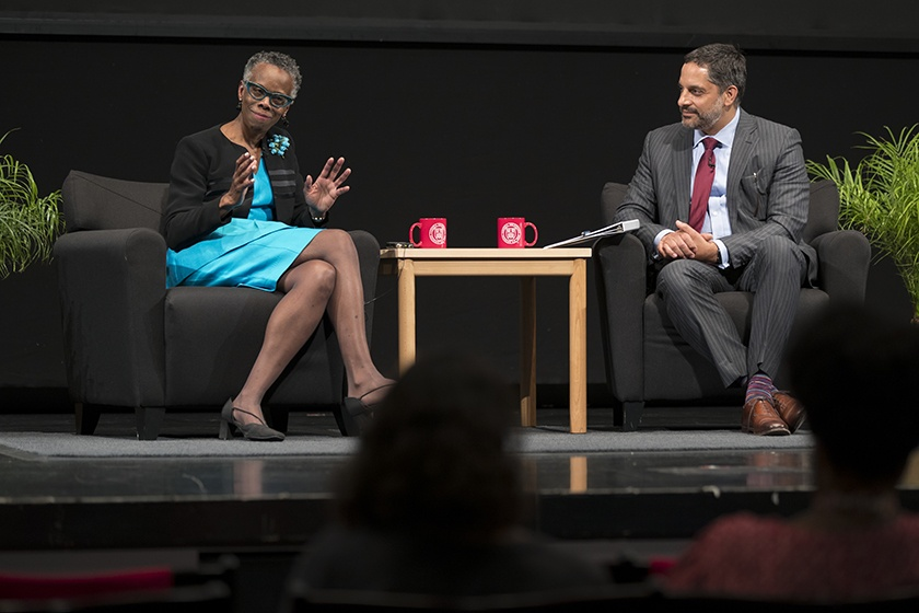 Justice Debra A. James '75, JD '78 discusses a point with Eduardo Peñalver '94, Allan R. Tessler Dean and Professor of Law, after giving the 2018 Olin Lecture in Bailey Hall.