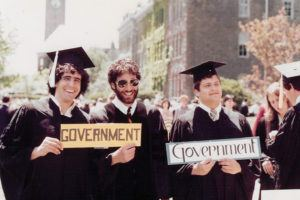 Boochever (far right) with fraternity brothers David Gordon (left) and Craig Keshishian on graduation day 1981.