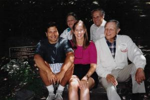 John Boochever (far leff) at Reunion 1991 with (counter clockwise) his wife, Carol; father, Louis Charles Boochever Jr. '41; uncle Robert Boochever '39, JD '41; and aunt Connie Boochever.