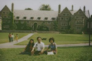 Rasmussen visiting Cornell's Ithaca campus for the first time, with her father, Yong Kouh, and mother, Joon Lee.