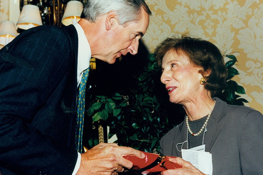 Lilyan Affinito '53 with Cornell President Hunter Rawlings.